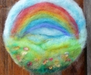 Happy wool scene - Waldorf inspired - flowers and rainbow - lovely birthday gift