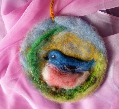 NZ wool bird circle art - Beautiful gift - bird lover