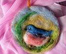 NZ wool bird circle art - Beautiful gift - bird lover