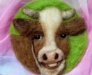 Wool cow art - NZ wool  - nice gift - needle felted