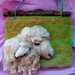 New Zealand Romney cross sheeps wool - wool art piece  - Natural gift  - needle felted