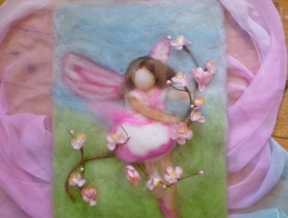 Spring flower fairy wool wall hanging - Waldorf inspired