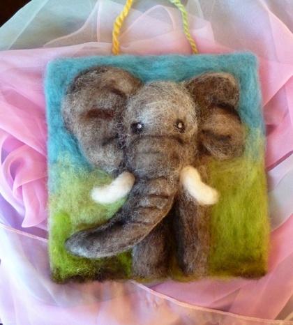 New Zealand  wool elephant  - sheeps wool - wool art piece  - Natural gift  - needle felted