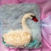 NZ wool swan - needle felted - nice gift - bird art