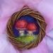 Small rustic toadstool wool wreath - art - funky