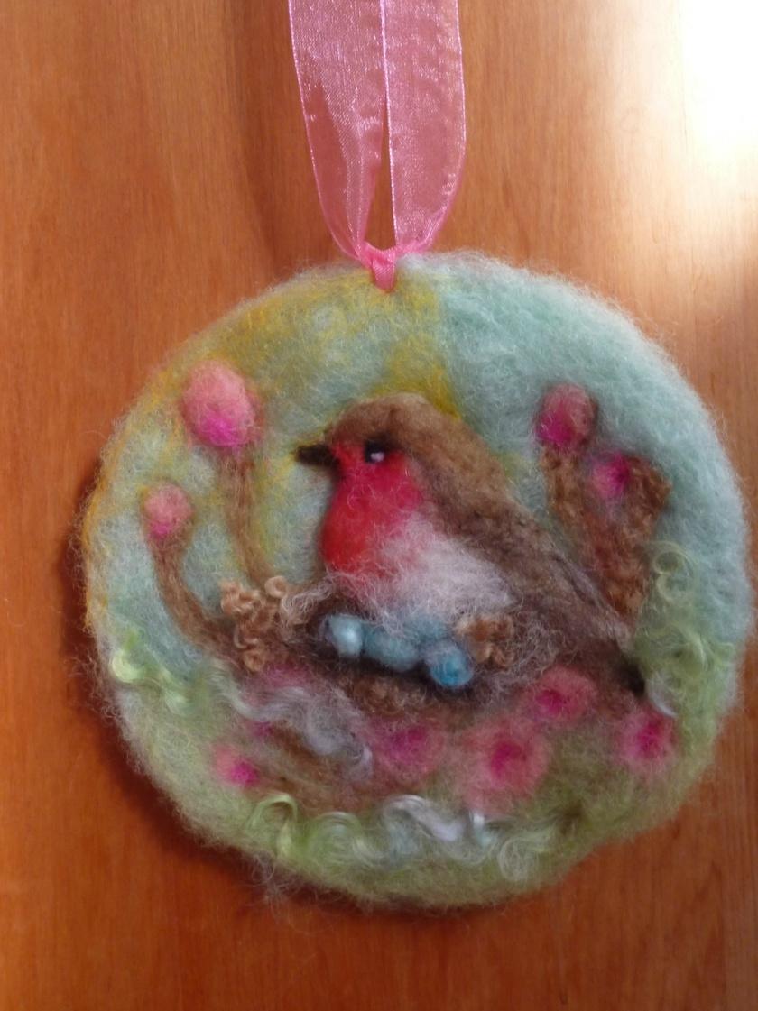 New Zealand wool bird art - needle felted - sweet gift for a  garden bird lover