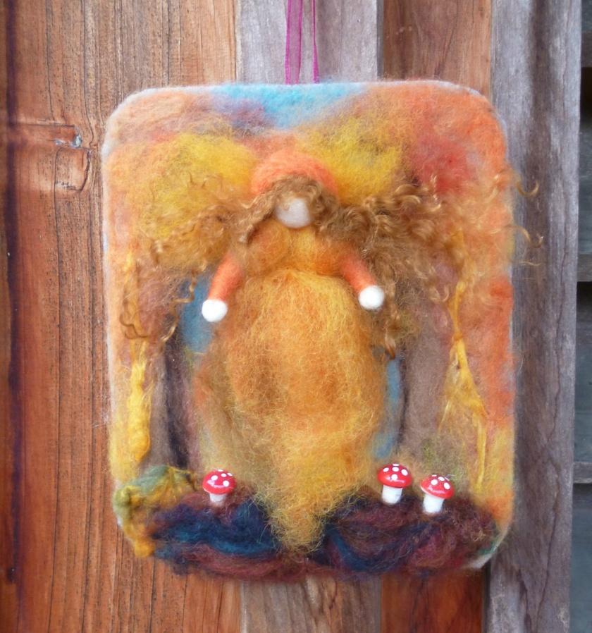 Autumn fairy - Waldorf inspired wall hanging - Autumn angel - Orange art - NZ wool
