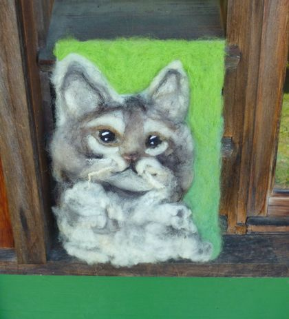 Wool kitten wall wool art - Needle felted in New Zealand wool