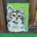 Wool kitten wall wool art - Needle felted in New Zealand wool