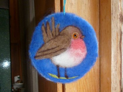 New Zealand wool bird art - needle felted - sweet gift for a  garden bird lover