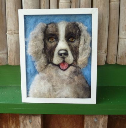 Wool dog - NZ wool - Needle felted - dog lovers gift - Spaniel portrait