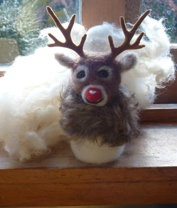 Rudolf the red nosed reindeer - wool dear - needle felted in New Zealand wool - nice gift - Deer with antlers