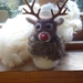 Rudolf the red nosed reindeer - wool dear - needle felted in New Zealand wool - nice gift - Deer with antlers