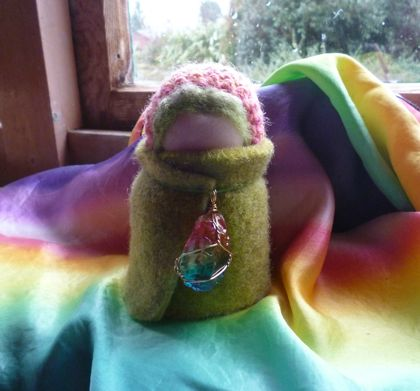 Rainbow child with crystal - Wool felt - hand dyed cape - Waldorf inspired