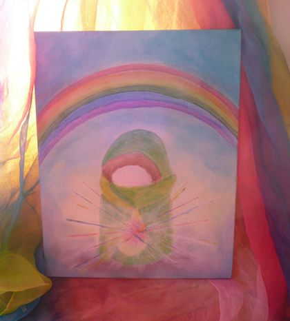 Rainbow crystal child - acrylic painting on canvas board - Waldorf inspired - Original art work
