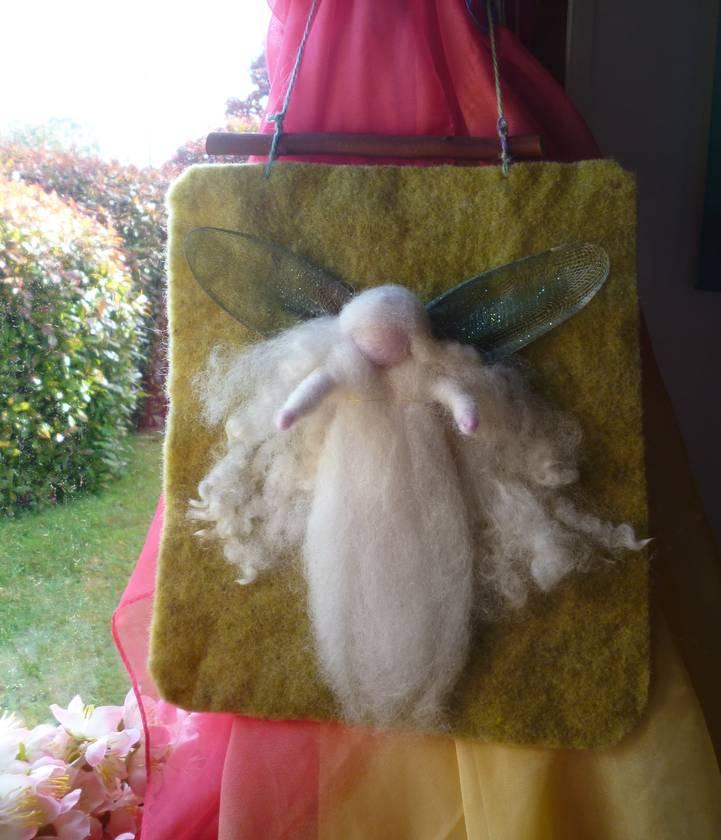 Lovely wool angel or fairy wool wall hanging - Waldorf - handyed felt