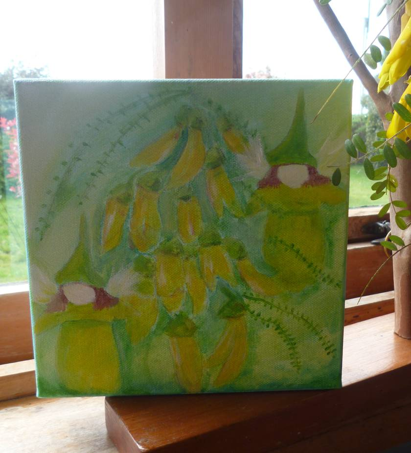 Kowhai fairies - Original painting - Waldorf inspired on canvas
