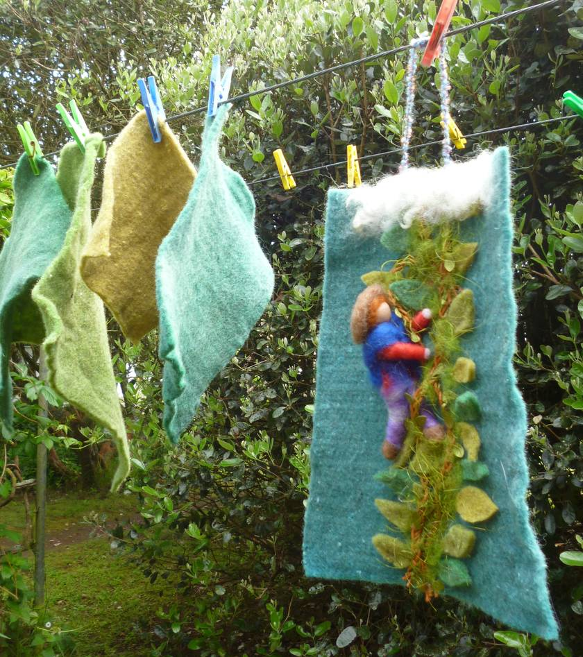 Jack and the beanstalk - New Zealand wool hand dyed - Waldorf inspired - fairy tale - Nursery decor