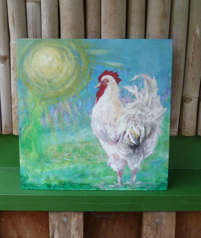 Rooster painting - Acrylic on canvas board