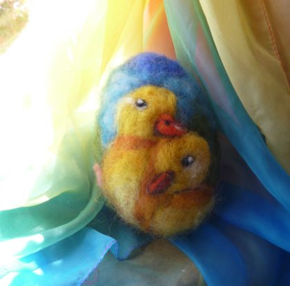 Large wool  egg - Ducklings  - New Zealand wool - Needle felted  - Easter gift