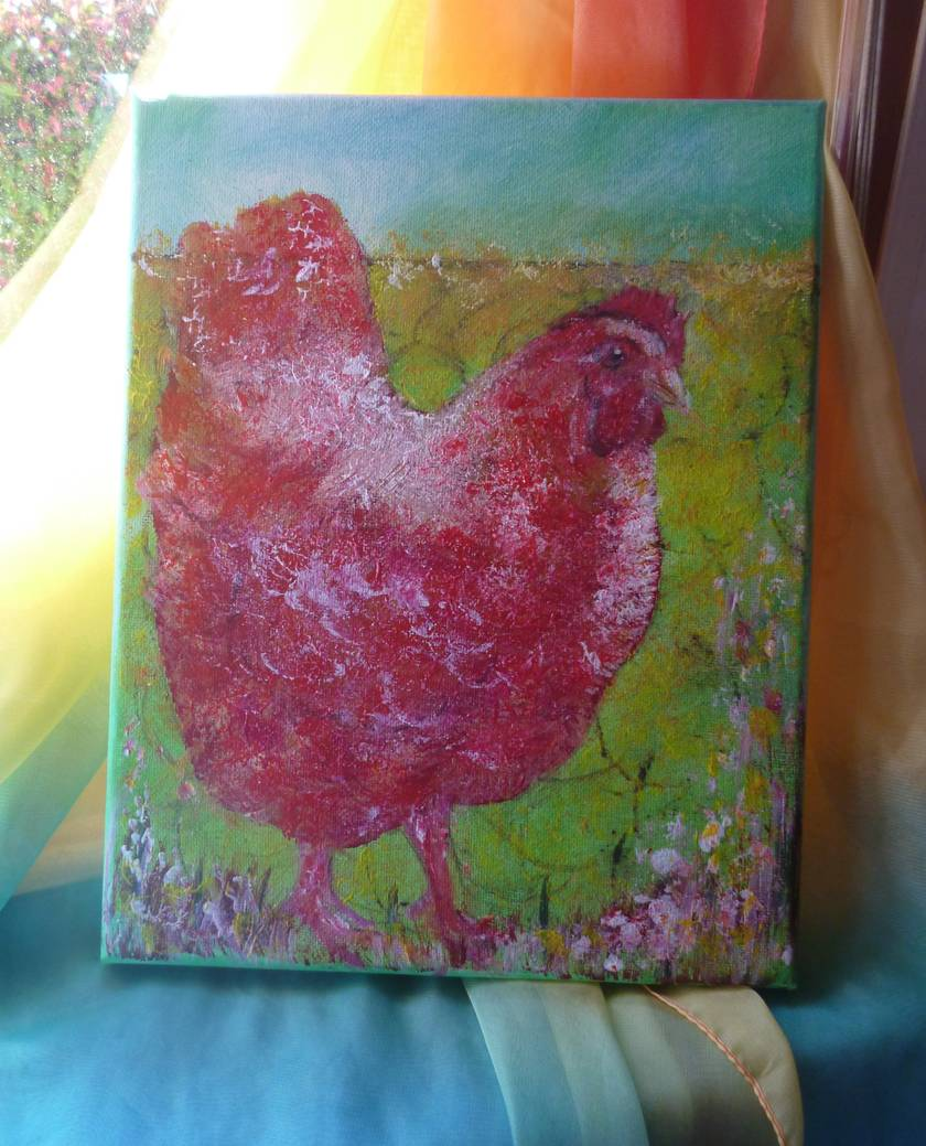 Little Red hen - acrylic painting