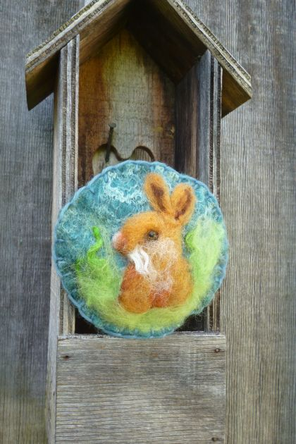 Easter wool rabbit treat - Needle felted in New Zealand wool