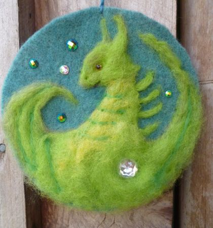 Dragon fantasy wool picture - Needle felted in New Zealand wool - lovely gift