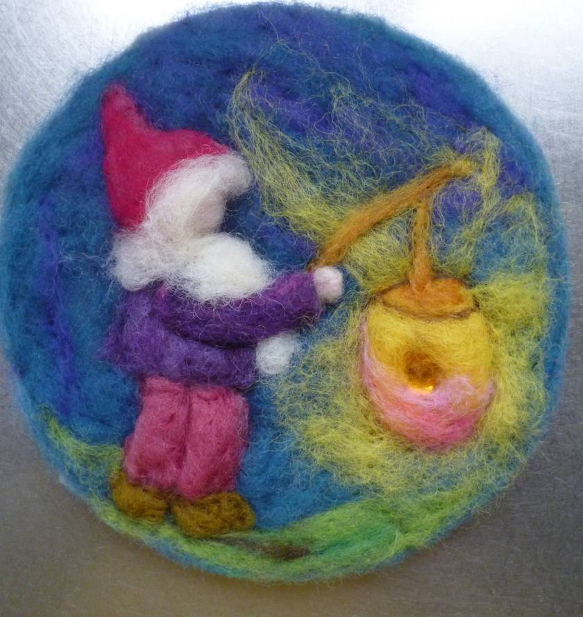 Winter time - Gnome carrying a lantern - Waldorf inspired - New Zealand wool