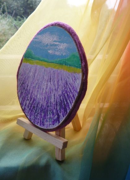 Wooden bark  lavender fields painting - natural - nice gift