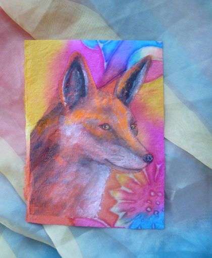 Fox painting  on handmade paper