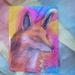 Fox painting  on handmade paper