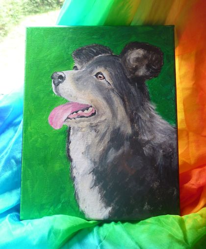 Dog painting collie on canvas
