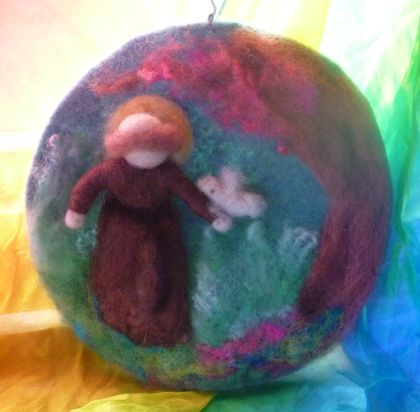 Saint Francis wool picture - Waldorf inspired wool art