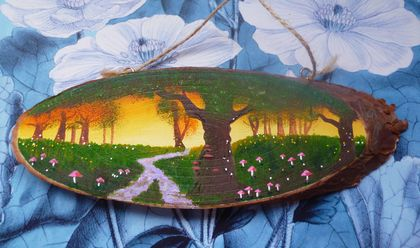 Wood slice painting -  Unique gift