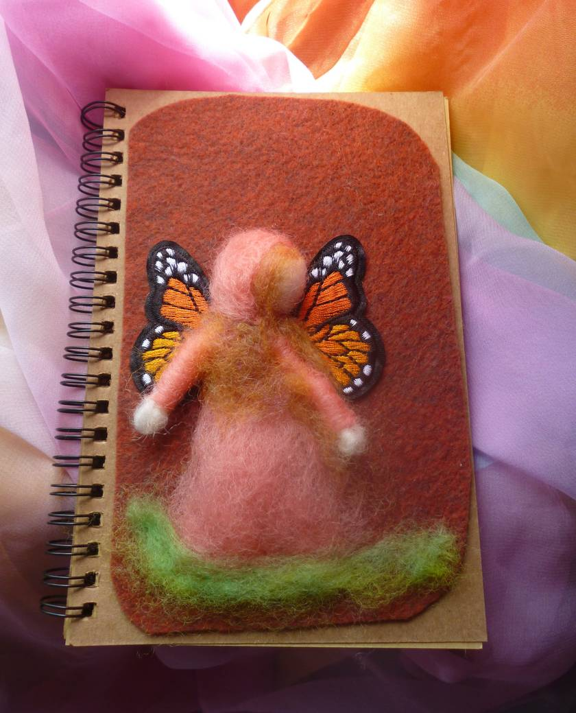 Spirial notebook with hand felted cover - Waldorf - nice birthday gift