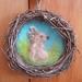 Easter rabbit - Hand needle felted in New Zealand wool - Original design - in rustic  hoop
