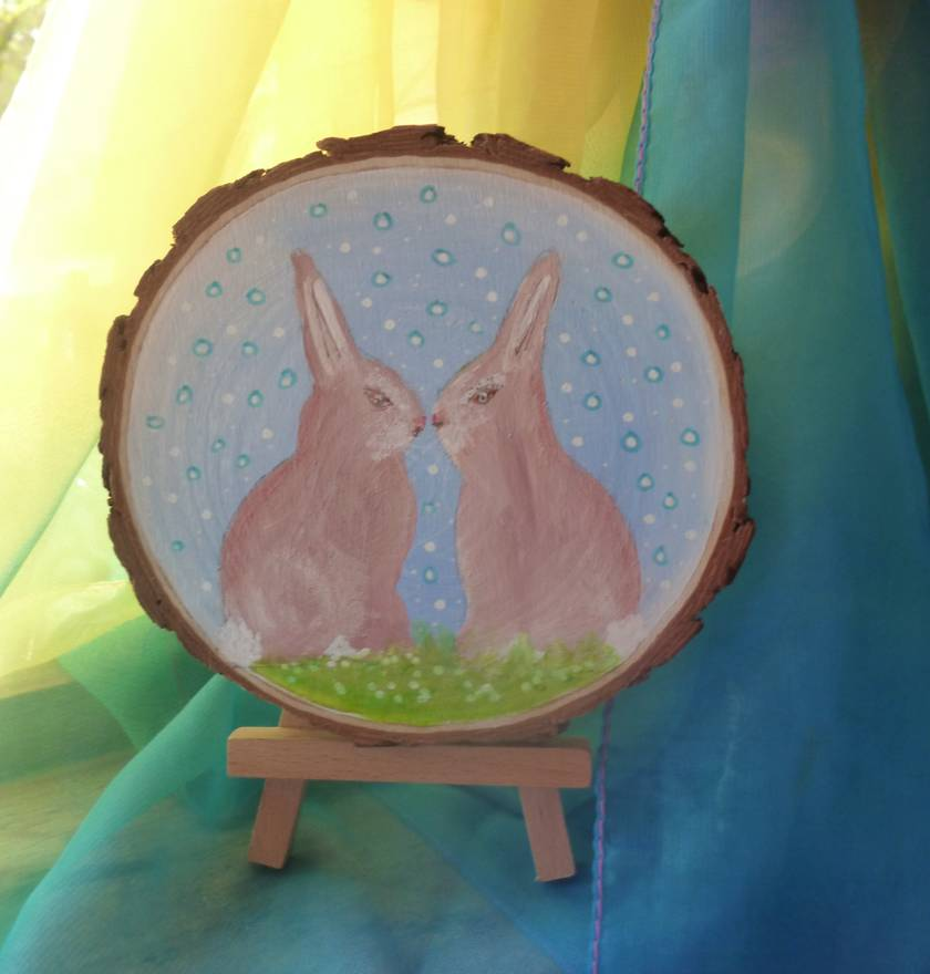Easter rabbits - Nice  child's gift - Hand painted