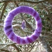 Purple wool circle hung with gold thread and a purple crystal - lovely gift - Waldorf inspired
