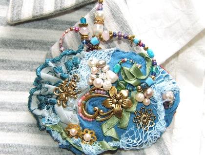Bead Embroidered Charm Brooch, Mixed Media