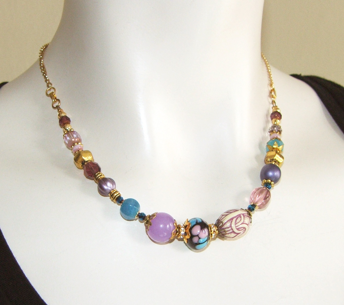 initial products asymmetrical asymmetric totem stone and side necklace strand