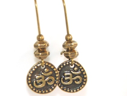 Om  Symbol Dangle Earrings, Antique Gold