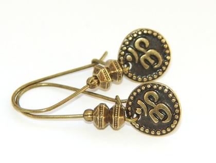 Om  Symbol Dangle Earrings, Antique Gold
