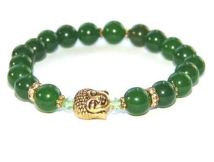 Greenstone Buddha Bracelet (Nephrite Jade) Gold