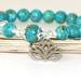 Turquoise Mosaic Stone Bracelet with Lotus Charm - Yoga Jewellery