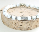 White Howlite Beads with Silver Church Bead / Yoga Bracelet