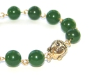 Buddha Bracelet, Greenstone (Nephrite Jade) Beads