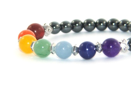 7 Chakra Bracelet, Hematite & Gemstone Yoga Jewellery