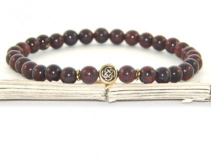 Stretch Jasper Beaded Bracelet, Celtic Symbol