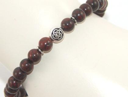 Stretch Jasper Beaded Bracelet, Silver Celtic Symbol