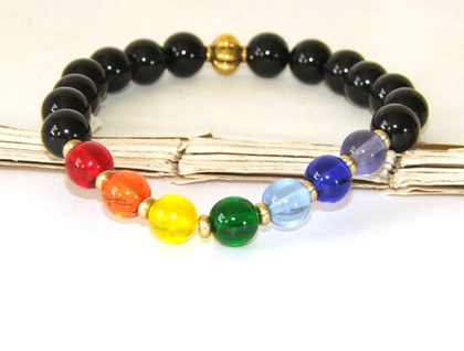 7 Chakra Bracelet, Colour Healing Stretch Yoga Bracelet